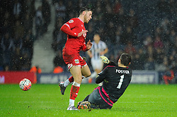 Wes Burns of Bristol City is challenged by Ben Foster of West Bromwich Albion - Mandatory byline: Dougie Allward/JMP - 09/01/2016 - FOOTBALL - The Hawthorns - Birmingham, England - West Brom v Bristol City - FA Cup Third Round