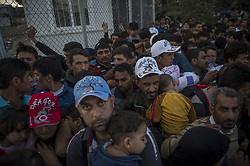 Oct. 14, 2015 - Lesbos Island, Greece - Migrants arrive in the Moria refugee camp on the Greek Island of Lesbos after crossing the Aegean sea from Turkey on October 14, 2015  (Credit Image: © Antonio Masiello/NurPhoto via ZUMA Press)