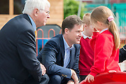 © Licensed to London News Pictures. 24/04/2014. Colchester, UK (L-R) Sir Bob Russell , Nick Clegg. Deputy Prime Minister Nick Clegg visits Hazelmere Infant School and Nannas Day Nursery in Colchester on Thursday 24 April, to talk to teachers and parents about free childcare for two-year-olds, free school meals and the pupil premium.. Photo credit : Stephen Simpson/LNP