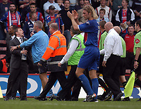 Photo: Alan Crowhurst.<br />Crystal Palace v Preston NE. Coca Cola Championship.<br />24/09/2005. Preston manager Billy Davies (L) tries to get to referee Steve Tanner after sending 2 of his players off.