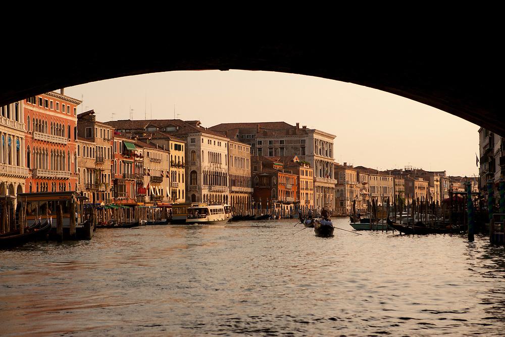 View of the Grand Canal from under the Rialto Bridge , Venice, Italy