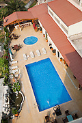 Overview of swimming pool at Mikhails Hotel.