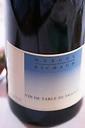 Le Bistrot des Alpilles restaurant. A bottle of red wine Marcel Richaud Vin de Table de France against a white background. Saint Remy Rémy de Provence, Bouches du Rhone, France, Europe