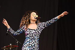 © Licensed to London News Pictures. 13/06/2015. Newport, UK.   Ella Eyre performing live at Isle of Wight Festival 2015, Day 3 Saturday.  This afternoon as started with warm sunshine.  Yesterday the rain was torrential.  Headline acts include The Prodigy, Blur and Fleetwood Mac.   Photo credit : Richard Isaac/LNP