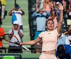 March 22, 2018 - Miami, Florida, United States - Simona Halep, from Romania, celebrates her victory against Ocean Dodin, from France in their second round match during the Miami Open Presented by Itau at Crandon Park Tennis Center on March 22, 2018 in Key Biscayne, Florida. Halep defeated Dodin 3-6, 6-3, 7-5 (Credit Image: © Manuel Mazzanti/NurPhoto via ZUMA Press)
