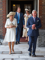 The Prince of Wales and the Duchess of Cornwall arriving for the christening of Prince Louis, the youngest son of the Duke and Duchess of Cambridge at the Chapel Royal, St James's Palace, London.