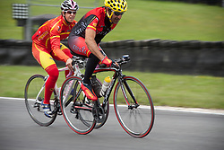 © Licensed to London News Pictures. 19/06/12. Brands Hatch, Kent. Spanish Paralympic cyclist trains at Brands Hatch, Kent. Up to 150 international athletes come to train at the race circuit at Brands Hatch in Kent for the Paralympic Road Cycling competition taking place on 5-8 September 2012. Picture credit should read Manu Palomeque/LNP