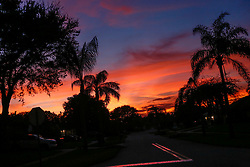 October 7, 2016 - Florida, U.S. - Sun sets in Tequesta after the passing of Hurricane Matthew, Friday evening, October 7, 2016. (Credit Image: © Yuting Jiang/The Palm Beach Post via ZUMA Wire)