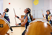 From left to right, Franco Imperial, Yurika Chiba, and Meg Suzuki of the San Jose Taiko perform during the KLA-Tencor Computer Lab opening ceremony at Zanker Elementary School in Milpitas, California, on February 27, 2013. (Stan Olszewski/SOSKIphoto)