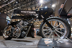 "Indian Motorcycles custom salt flats racer ""Black Bullet Scout"" by Jeb Scolman at EICMA, the largest international motorcycle exhibition in the world. Milan, Italy. November 19, 2015.  Photography ©2015 Michael Lichter."