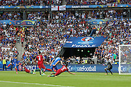 France Forward Antoine Griezmann shots at goal during the Euro 2016 final between Portugal and France at Stade de France, Saint-Denis, Paris, France on 10 July 2016. Photo by Phil Duncan.