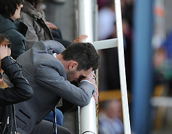 Bristol Rovers' Michael Smith looking dejected watching from the stands.- Photo mandatory by-line: Alex James/JMP - Mobile: 07966 386802 03/05/2014 - SPORT - FOOTBALL - Bristol - Memorial Stadium - Bristol Rovers v Mansfield - Sky Bet League Two