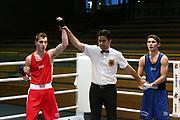 Boxen: Elite, Deutsche Meisterschaften, Halbfinale, Lübeck, 08.12.2017<br /> Halbwelter, 64 Kg: Edison Zani (Hamburg) - Jan Ualikhanov (Sachsen-Anhalt)<br /> © Torsten Helmke