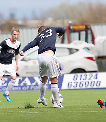 Falkirk's Rory Loy scoring their fifth goal and his hat trick.<br /> Falkirk 5 v 0 Cowdenbeath, Scottish Championship game played today at The Falkirk Stadium.<br /> © Michael Schofield.