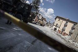 August 30, 2016 - Amatrice, Italy - A general view of Amatrice hit by earthquake on August 30, 2016 in Amatrice, Italy. Italy has declared a state of emergency in the regions worst hit by Wednesday's earthquake as hopes diminish of finding more survivors. At least 290 people are now know to have died and around 400 injured with teams continuing to search the rubble of collapsed buildings. (Credit Image: © Manuel Romano/NurPhoto via ZUMA Press)
