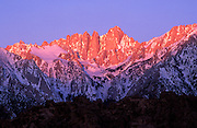 Winter dawn on Mount Whitney from the Alabama Hills, Sequoia National Park, Sierra Nevada Mountains, California