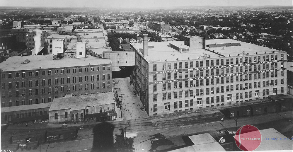 Studebaker buildings 53-58 c. 1910. Image taken from powerhouse smokestack facing east.