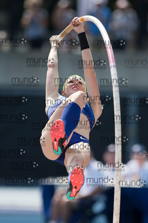 Toronto, ON -- 11 August 2018: Sandi Morris (USA), pole vault at the 2018 North America, Central America, and Caribbean Athletics Association (NACAC) Track and Field Championships held at Varsity Stadium, Toronto, Canada. (Photo by Sean Burges / Mundo Sport Images).