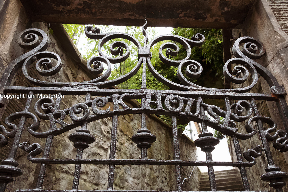 Detail of ornate iron gates leading to Rock House guest house on Calton Hill in Edinburgh, Scotland, UK