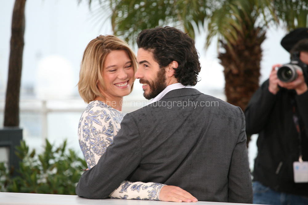 Tahar Rahim and Léa Seydoux at the Grand Central film photocall at the Cannes Film Festival 18th May 2013