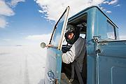 Image of a blue Volkswagen vintage truck at the World of Speed, Bonneville Salt Flats, Utah, American Southwest by Randy Wells