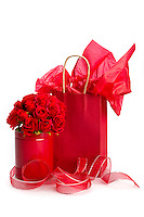 Saint Valentine presents with decorations of roses and ribbon.