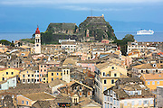 Kerkyra, Corfu Town, Agios Spyridon church, Old Fort, cruise liner ship in Ionian Sea in Corfu, Ionian Islands, Greece