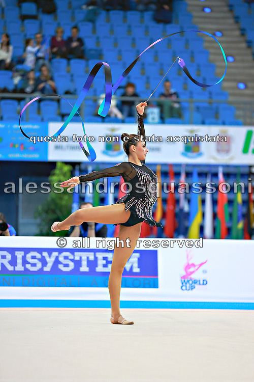 Diaz Karla during qualifying at ribbon in Pesaro World Cup 11 April 2015.<br /> Karla born 5 July, 1995 in Mexico City is a Mexican individual rhythmic gymnast.