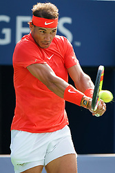 August 12, 2018 - Toronto, ON, U.S. - TORONTO, ON - AUGUST 12: Rafael Nadal (ESP) returns the ball during the Rogers Cup tennis tournament Final on August 12, 2018, at Aviva Centre in Toronto, ON, Canada. (Photograph by Julian Avram/Icon Sportswire) (Credit Image: © Julian Avram/Icon SMI via ZUMA Press)