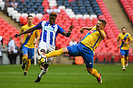 Gavin James of Thatcham Town (10) Dale Mulligan of Stockton Town (5) battle for the ball during the FA Vase match between Stockton Town and Thatcham Town at Wembley Stadium, London, England on 20 May 2018. Picture by Stephen Wright