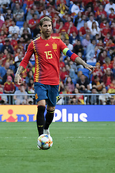 June 11, 2019 - Madrid, Spain - Sergio Ramos of Spain in action during the EURO Qualifier match between Spain v Sweden at the Estadio Santiago Bernabeu on June 10, 2019 in Madrid Spain Photo: Oscar Gonzalez/NurPhoto  (Credit Image: © Oscar Gonzalez/NurPhoto via ZUMA Press)