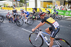 Floortje Mackaaij (NED) of Liv-Plantur Cycling Team is literally covered by bikes after a crash in the last lap of the La Course, a 89 km road race in Paris on July 24, 2016 in France.