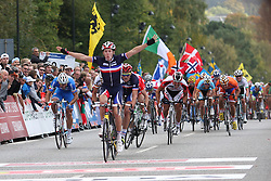 Winner Arnaud Demare (France)  during the Men´s Under 23 Road Race on day five of the UCI Road World Championships on September 23, 2011 in Copenhagen, Denmark. (Photo by Marjan Kelner / Sportida Photo Agency)