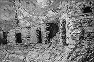 Nankoweap ruins with the collapsed front of  the third room, photographed 8/23/1981.  Grand Canyon National Park, © 1981 David A. Ponton