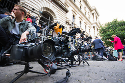 London, June 9th 2017. Photographers set up remote cameras as the world's media gather outside 10 Downing Street in London, official residence of the British Prime Minister Theresa May who is expected at some point in the day to make a statement following the hung Parliament result that sees the Tories' majority of 17 seats cut to nothing.
