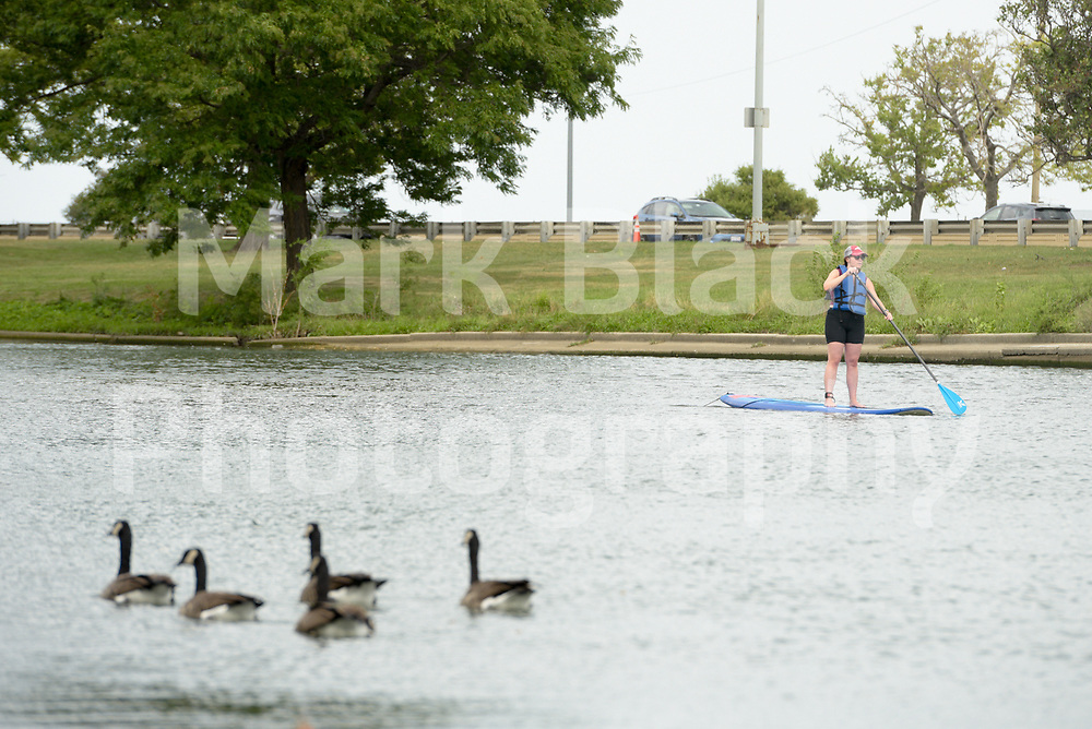 Paddle boarder in Lincoln Park in Chicago on Thursday, Sept. 3, 2020. Photo by Mark Black