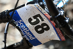 A rider's number during day one of the 2017 UCI Mountain Bike World Cup at Fort William. PRESS ASSOCIATION Photo. Picture date: Saturday June 3, 2017. Photo credit should read: Tim Goode/PA Wire. RESTRICTIONS: Editorial use only, no commercial use without prior permission