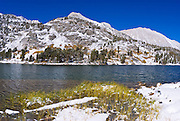 Mount Starr from Long Lake after an early storm, John Muir Wilderness, Sierra Nevada Mountains, California
