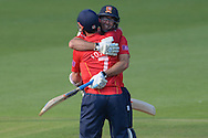 Essex wicket-keeper James Foster and Essex bowler David Masters celebrate the Essex win during the Royal London One Day Cup match between Hampshire County Cricket Club and Essex County Cricket Club at the Ageas Bowl, Southampton, United Kingdom on 5 June 2016. Photo by David Vokes.