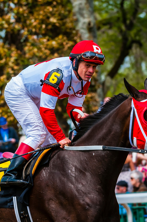 Jockey Javier Castellano riding Second Base at Keeneland Racecourse, Lexington, Kentucky USA.. He is a jockey in American Thoroughbred horse racing