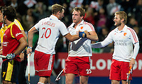 LONDON -  Unibet Eurohockey Championships 2015 in  London. England v Spain. Chris Griffiths (m)  has scored 3-0 and celebrates with Dan Shingles and Ashley Jackson (r)  from England . WSP Copyright  KOEN SUYK