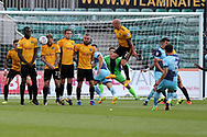 The Newport county defensive wall blocks a free-kick at goal taken by Joe Jacobson of Wycombe Wanderers ®. EFL Skybet football league two match, Newport county v Wycombe Wanderers at Rodney Parade in Newport, South Wales on Saturday 9th September 2017.<br /> pic by Andrew Orchard, Andrew Orchard sports photography.