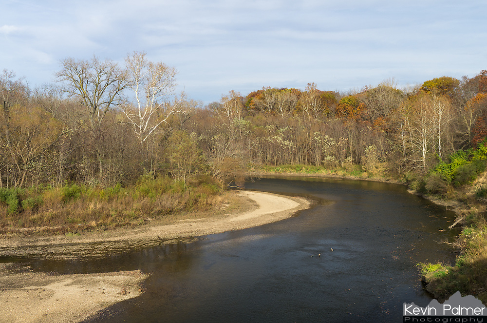 The Mackinaw River is a very scenic river that flows past rolling hills, bluffs, and woods. There was only a little bit of fall color left on this warm November day.