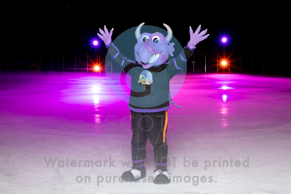Youngstown Phantoms player photo shoot on January 6, 2020.<br /> <br /> Sparky, mascot