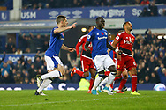 Leighton Baines of Everton (l) celebrates after scoring his teams 3rd goal from the penalty spot to make it 3-2. Premier league match, Everton vs Watford at Goodison Park in Liverpool, Merseyside on Sunday 5th November 2017.<br /> pic by Chris Stading, Andrew Orchard sports photography.