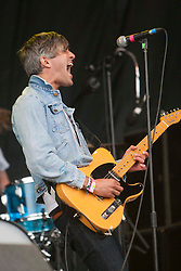 Keith Murray of We Are Scientists on the main stage..Rockness, Sunday, 12th June 2011..RockNess 2011, the annual music festival which takes place in Scotland at Clune Farm, Dores, on the banks of Loch Ness near Inverness..Pic ©2011 Michael Schofield. All Rights Reserved..