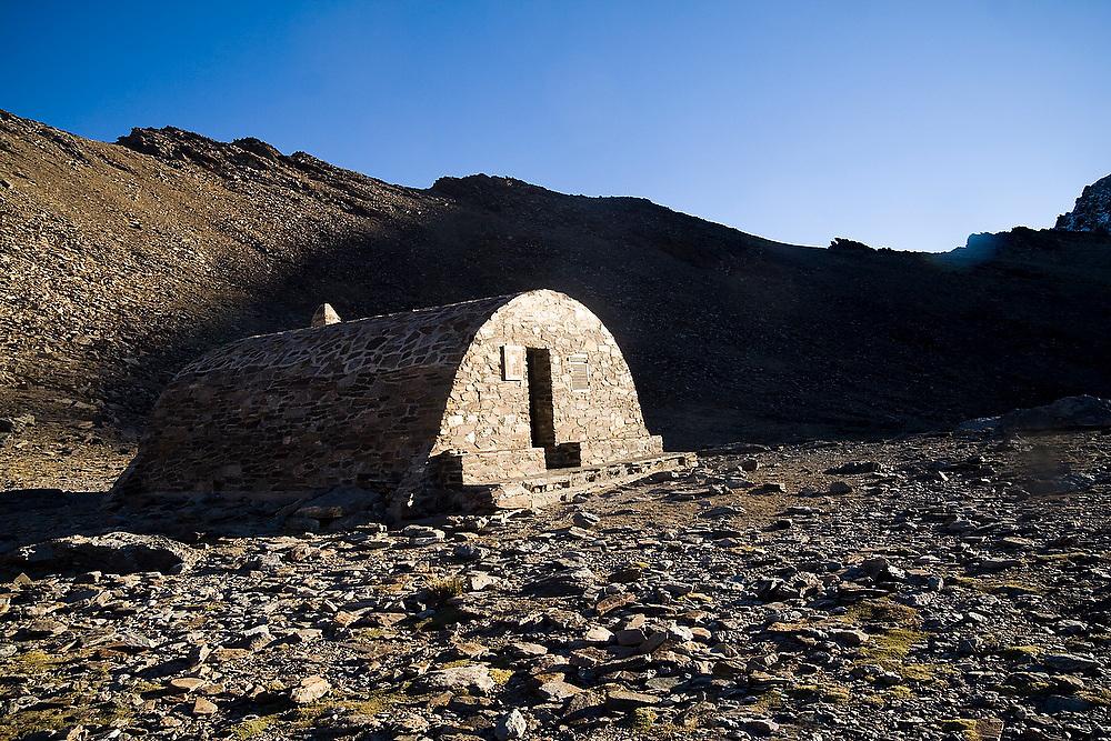 Refugio Vivac de la Caldera at the base of Mulhacen, Sierra Nevada National Park, Andalusia, Spain.