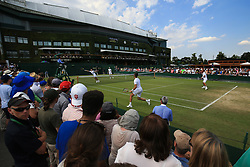 6 July 2017 -  Wimbledon Tennis (Day 4) - A doubles match takes place in front of Centre Court - Photo: Marc Atkins / Offside.