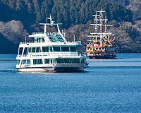 Lake Ashi Tourist Pirate Ship and Catamaran. Image taken with a Nikon 1 V3 camera and 70-300 mm VR telephoto zoom lens.