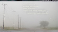 Telephone pole lined road photo leading into dense fog. There is a heart-shaped tree on the right and some life supporting words at the top.